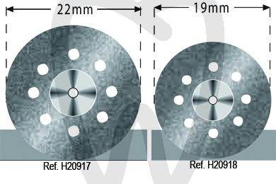 Product - FLEX DOPPELSEITIG BELEGTE DIAMANTSCHEIBE, PERFORIERT 22 UND 19 MM.