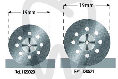 Product - SEMI-FLEX EINSEITIG BELEGTE DIAMANTSCHEIBEN, PERFORIERT 22 UND 19 MM.