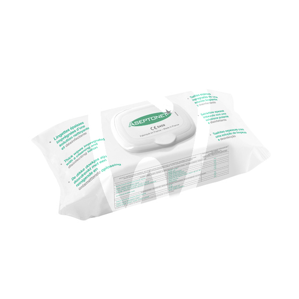 Product - ASEPTONET LINGETTES DESINFECTANTES SACHET REFERMABLE  EN 14476